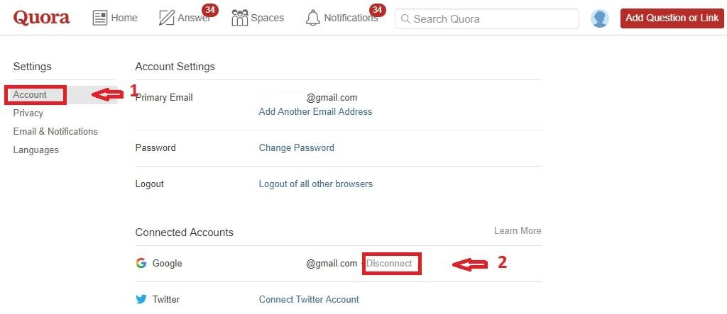 How to Disconnect Quora from Google Account