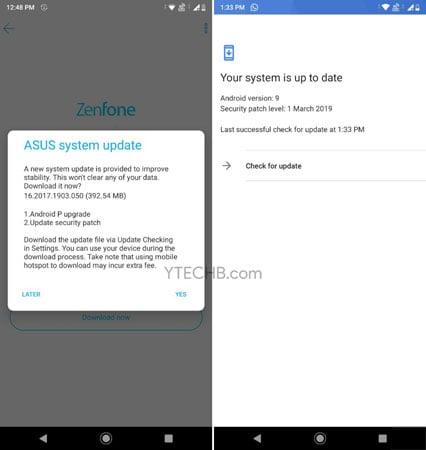 Asus Zenfone Max Pro M1 Android Pie Update ota