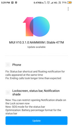 redmi 4 miui 10.3.1.0 update