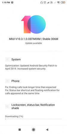 Redmi Y2 MIUI 10.3.1.0 Update