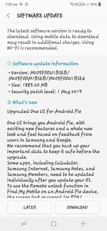 Samsung Galaxy M20 Android Pie Stable Update
