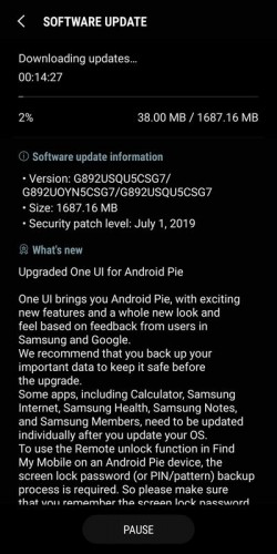 install samsung galaxy s8 active t-mobile android pie update