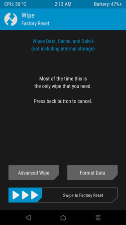 TWRP wipe data