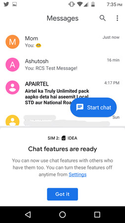 enable rcs feature in messages