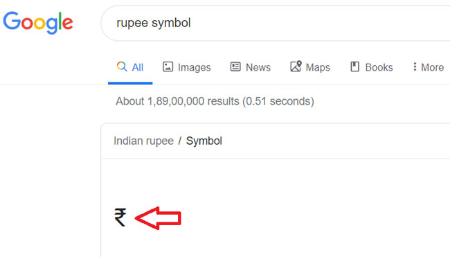 Rupees Symbol in Word