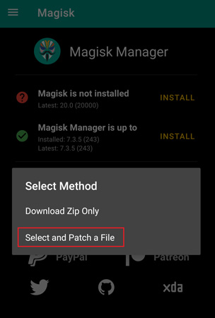 how to patch a file with magisk