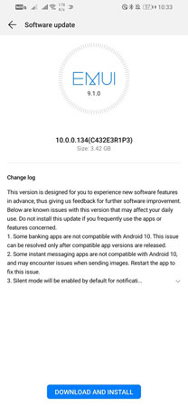 Huawei P Smart 2019 Android 10 update