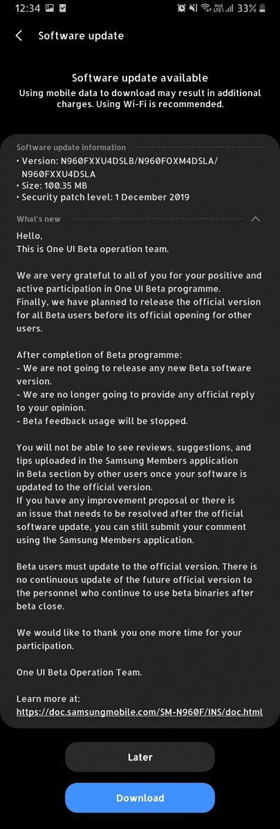 Samsung Galaxy Note 9 Android 10 update