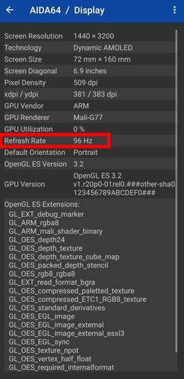 Enable 96Hz on Samsung S20