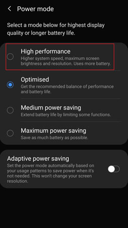 How to enable high performance on Galaxy S20