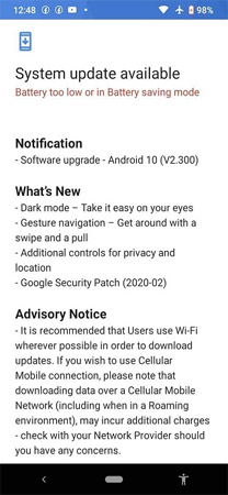 Nokia 2.2 Android 10 Update