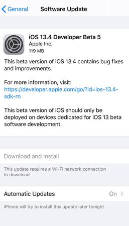iOS 13.4 Beta 5 Update