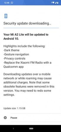 Mi A2 Lite Android 10 update stable