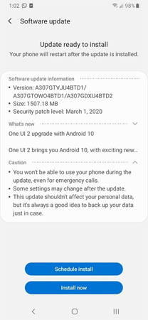 Samsung Galaxy A30s Android 10 Update