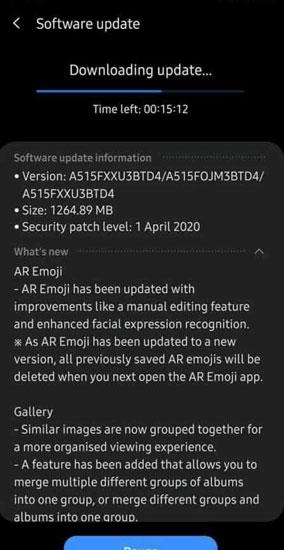 Samsung Galaxy A51 OneUI 2.1 Update