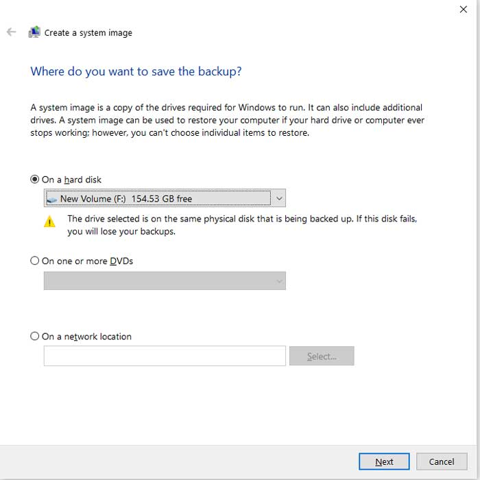 Windows 10 system image backup