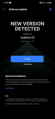 Realme 5 Android 10 Stable Update