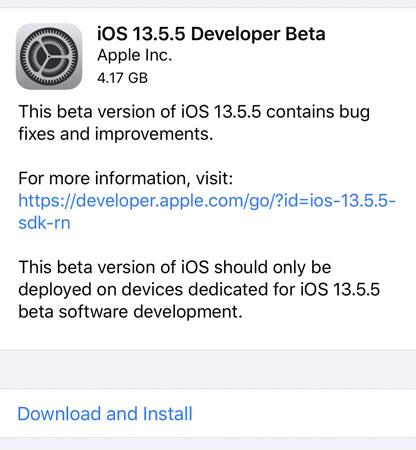 Download iOS 13.5.5 Beta 1