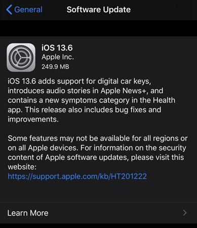iOS 13.6 public update