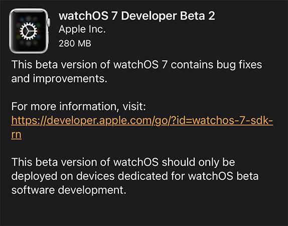 watchos 7 beta 2 update