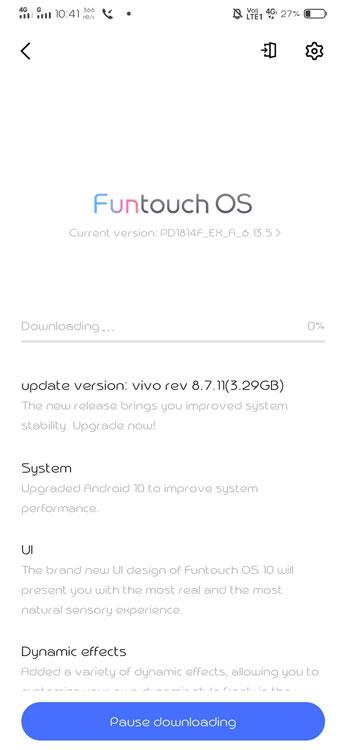 Vivo V11 Pro Android 10 Update