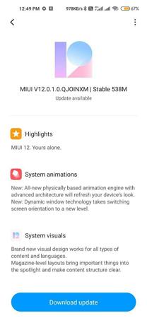 Redmi Note 9 MIUI 12 Update
