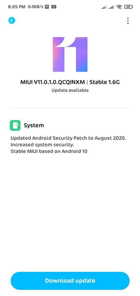 Redmi 8A Dual Android 10 Update