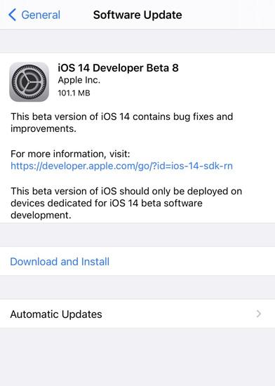 iOS 14 Beta 8 Update