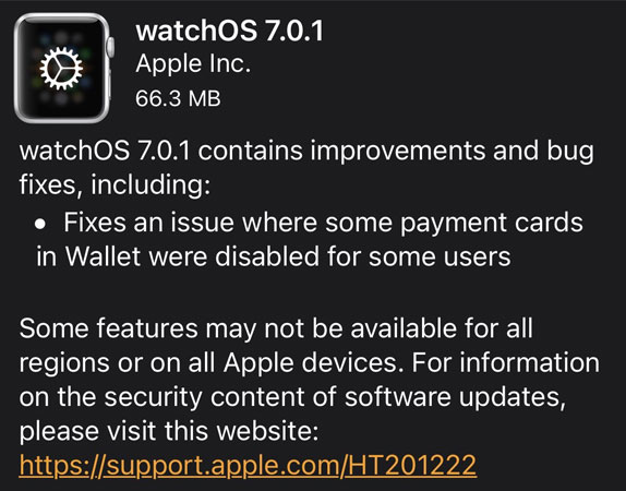 watchos 7.0.1 update