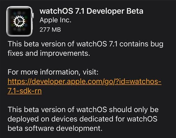 watchOS 7.1 Beta Update