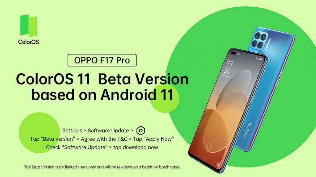 Oppo F17 Pro ColorOS 11 Beta Update