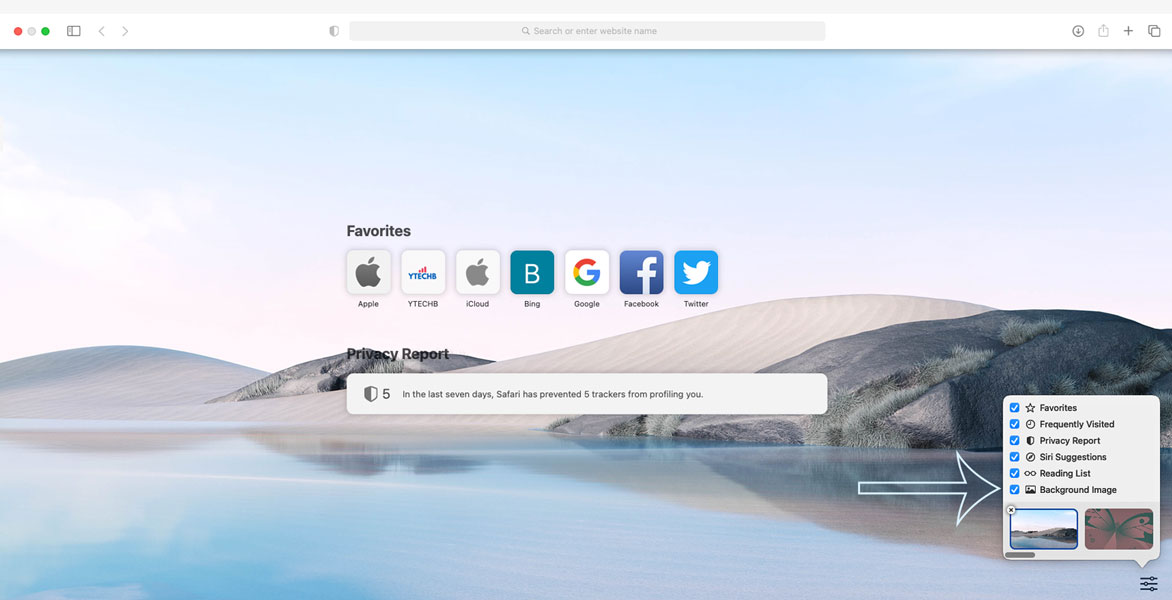 How to Add Wallpaper in macOS Safari 14 Start Page