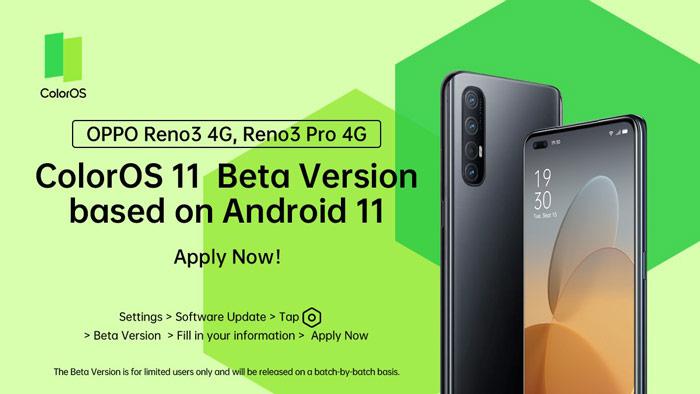 Oppo Reno3 4G Android 11 Beta update