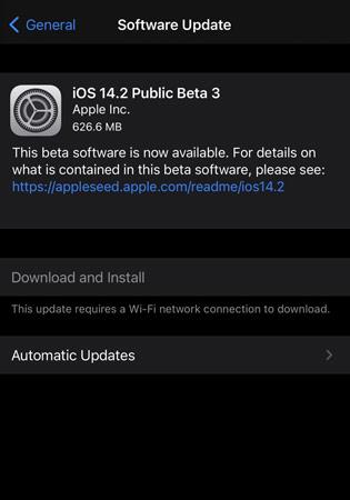 iOS 14.2 Beta 3 Update
