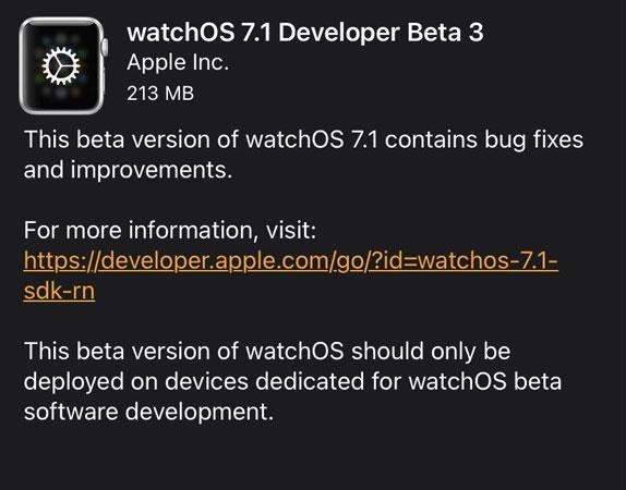 watchos 7.1 beta 3 update