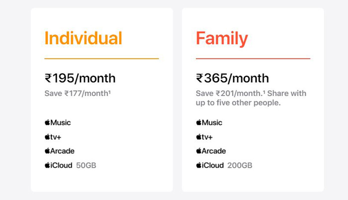 Apple One India pricing