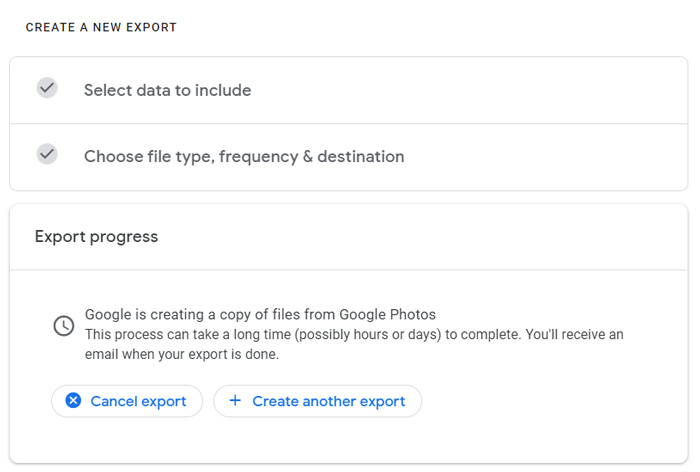 Export pictures from Google Photos