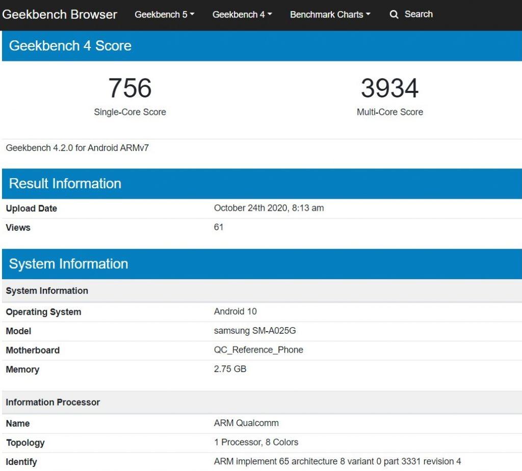 Galaxy A02 Geekbench score
