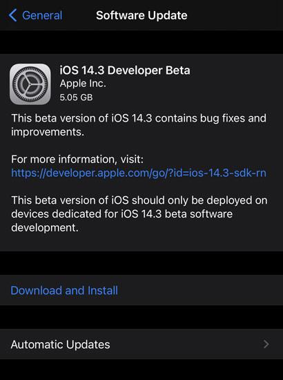 iOS 14.3 Beta 1 Update