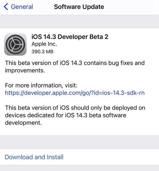 iOS 14.3 Beta 2 Update
