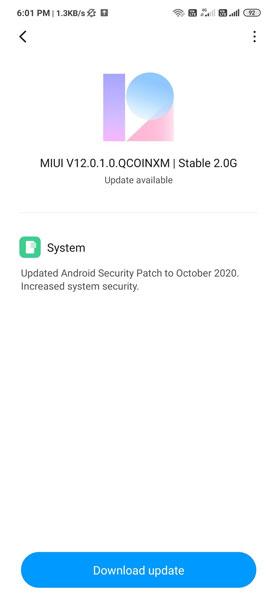 Redmi Note 8 MIUI 12 Update India