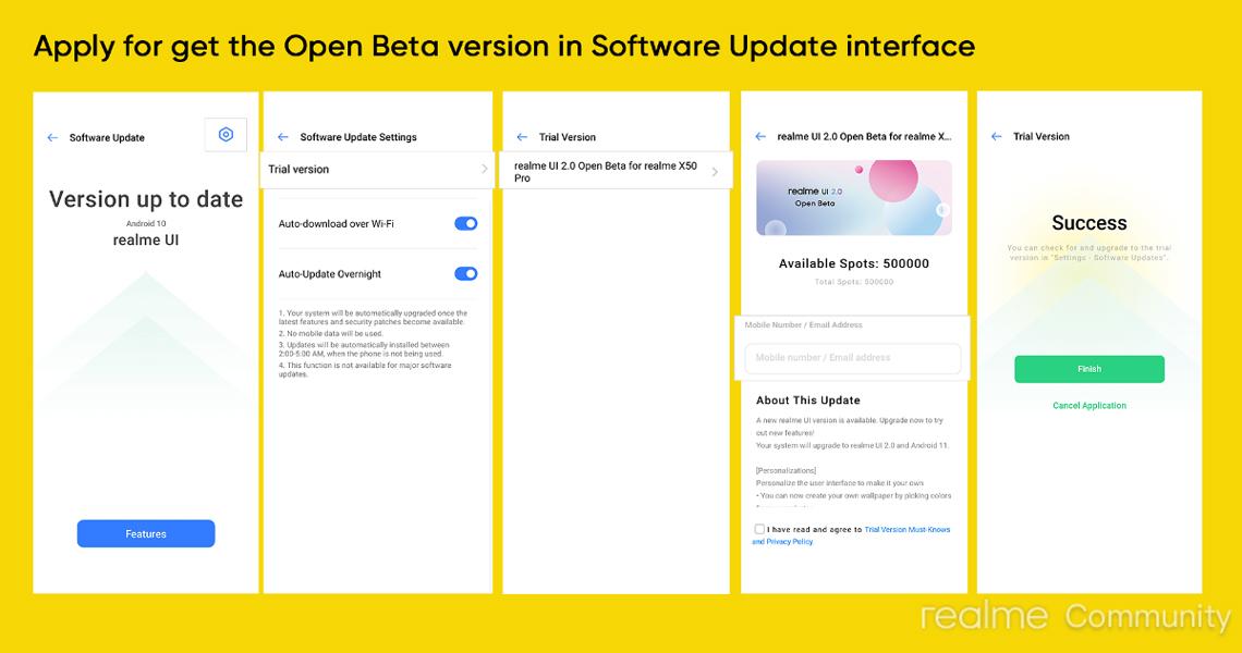 Realme X50 Pro Realme UI 2.0 Open Beta