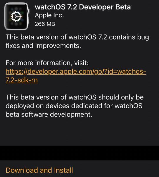 watchos 7.2 beta update