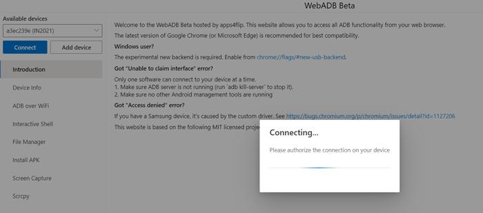 How to use webadb