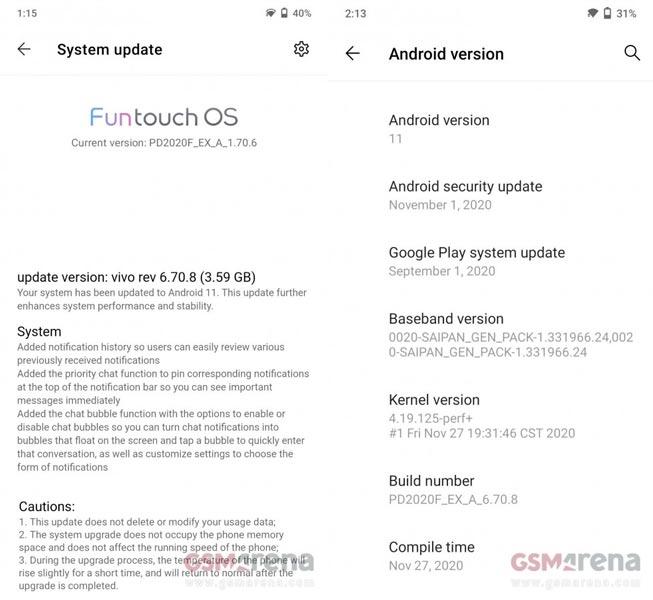 Vivo V20 Pro Android 11 Update