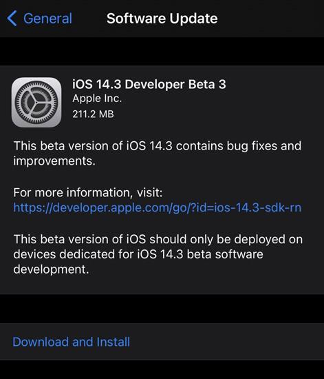 iOS 14.3 Beta 3 Update
