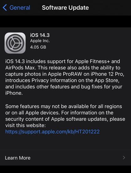 iOS 14.3 RC Update