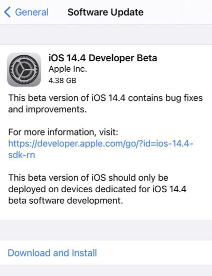 iOS 14.4 Beta 1 Update