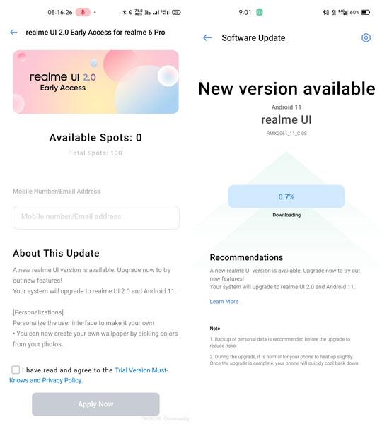 Realme 6 Pro Realme UI 2.0 Update