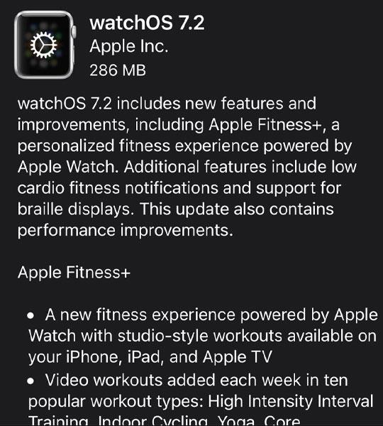 watchos 7.2 update